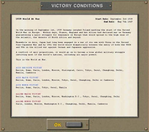 Strategic Command WWII - Global Conflict - conditions victoire